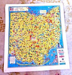 Vintage Lovely Cartoon Map Wonderful World Of Ohio Cleveland Lake