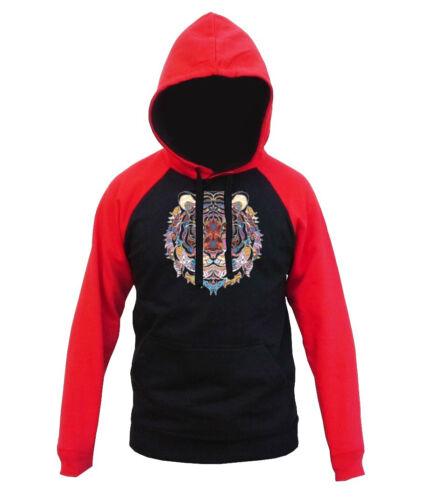 New Mosaic Tribal Tiger Head Black Red Raglan Hoodie Sweater Colorful Safari