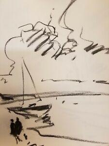 "JOSE TRUJILLO - Original Charcoal Paper Sketch Drawing 12"" Modern Sailboat"