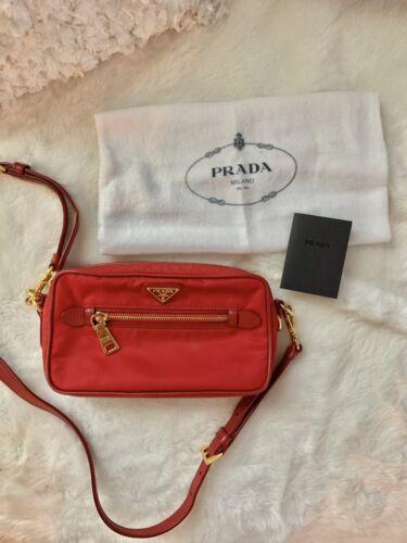 PRADA Tessuto Nylon Camera Crossbody Bag - Red