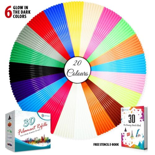 Stylo 3D filament refills PLA 1.75 mm thickness - 20 colours - 5 meter each
