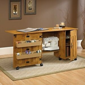 crafting desk with storage sauder sewing cabinet machine table craft shelves storage 4108