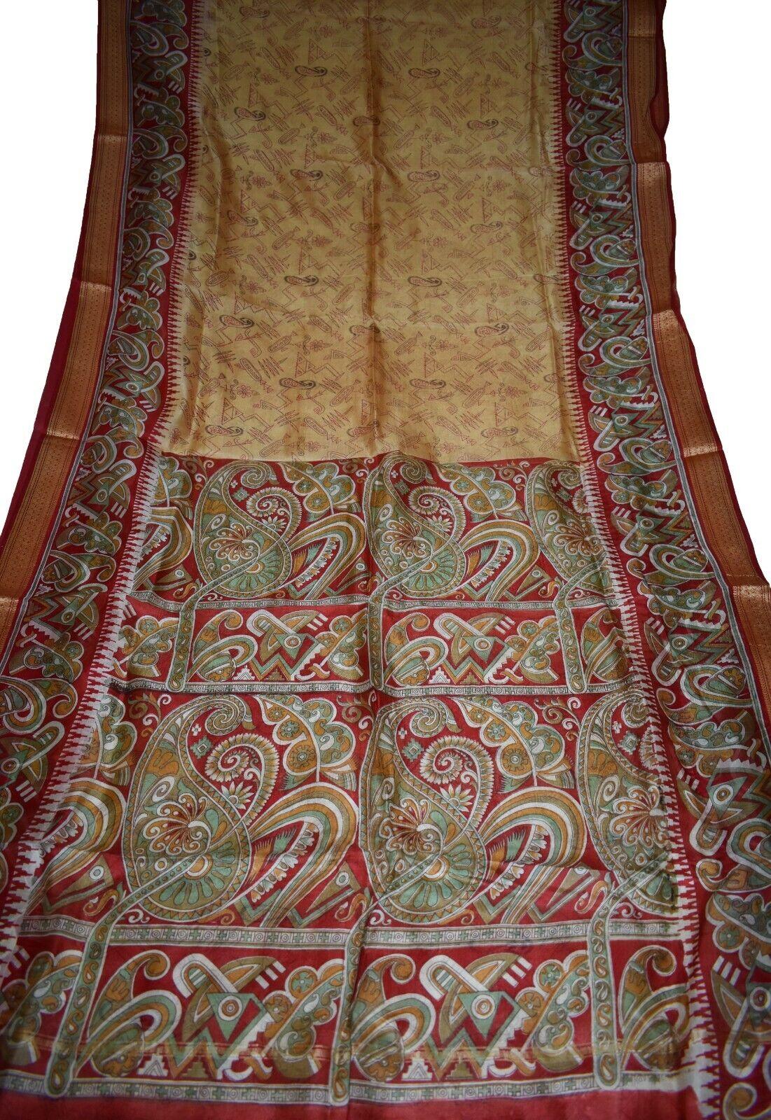 Vintage Printed Sari Brown Pure Silk Floral Print 5Yrd Saree Design CraftPR 6463