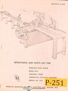 Peerless 1214, Band Saw, Operations and Parts Manual