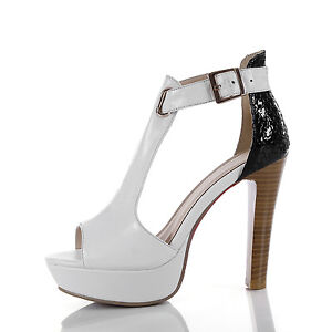 Ladies-Peep-Toes-Shoes-Genuine-Leather-High-Heels-T-Strap-Sandals-UK-Size-S177