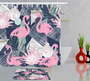 Pink-Flamingo-Tropical-Bathroom-Set-Decor-Polyester-Shower-Curtain-Hook
