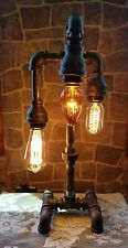 Industrial Pipe Three Tier steampunk style table, desk lamp with bulbs.
