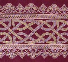 Silk Brocade Metallic Jacquard Border Trim. Celtic Knot. Burgundy Deep Red