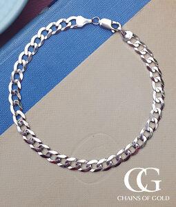 Details About Men S Las Solid 9ct White Gold 6mm Curb Bracelet 8 5 Gift Boxed