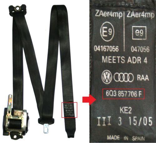 Vw polo seat belt drivers side front 3 portes 2002 à 2005 9N noir 6Q3 857 706 f