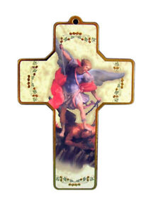 Wooden-Saint-Michael-the-Archangel-Wall-Cross-with-Prayer-Card-5-Inch
