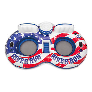 Intex River Run II American Flag Inflatable 2 Person Pool Tube Float with Cooler