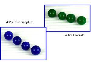 Round 240 Carat+ Emerald & Blue Sapphire Natural 8 Pcs Lot Loose Gemstone Ball