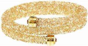 Authentic-89-Swarovski-Crystaldust-Double-Bracelet-Golden-Size-Medium-5237763