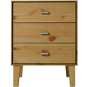 Image Is Loading ANGLE Solid Wood 3 Drawer Storage Chest Bedside