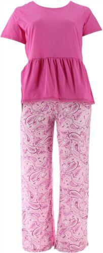 Carole Hochman Ultra Jersey Water Paisley Ruffled PJ Set Pink S NEW A302171