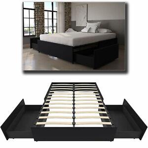 Queen Size Platform Bed Frame With, Platform Beds With Storage Queen Size Mattress