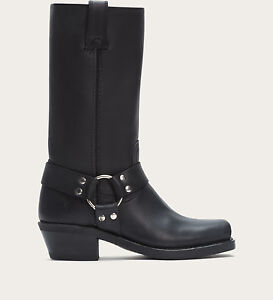 $278 NWT Frye Harness 12R Black Leather Silver HW Motorcycle Moto Boots Size 8