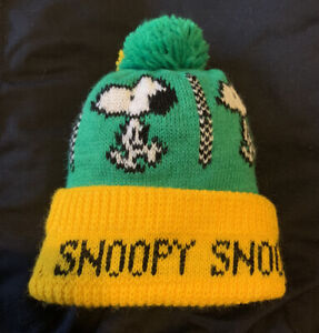 Vintage Green And Yellow Snoopy Peanuts Hat Beanie