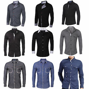 Mens-Slim-Fit-Shirts-Long-Sleeve-Luxury-Formal-Casual-Designer-Stylish-Dress