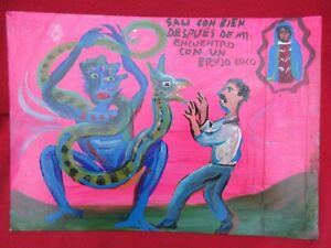 Mexican-Folk-Art-Miguel-Hernandez-Man-Encounters-Crazy-Witch-amp-Snake-Ex-Voto