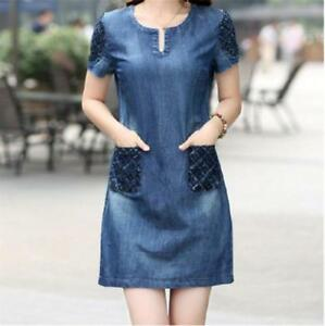 Fitted-Women-039-s-Short-Sleeve-Denim-Jeans-Dress-Casual-Loose-with-Pockets-BS