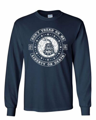 Don/'t Tread on Me Long Sleeve T-Shirt Liberty or Death Gadsden Rattlesnake Tee