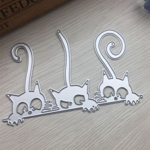 three cats Metal Cutting Dies Scrapbooking Metal Die Cuts for Card Esdtu #sjcn