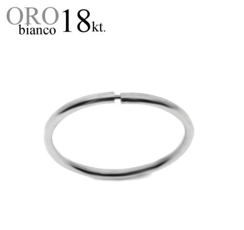 mono orecchino uomo ORO BIANCO 18kt cerchio invisibile anello lobo mm.16