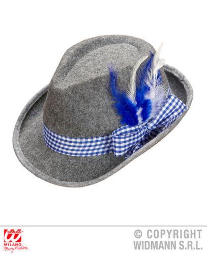 BAVARESE FEDORA Cappello Blu Piume Oktoberfest Costume Accessorio