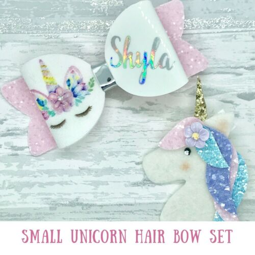 Pink Bow Small Personalised glitter Unicorn Hair Bow and Unicorn Clip Set