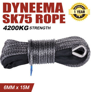 Black 6mm x 15M Dyneema SK75 Winch Rope Synthetic Strap 4WD Recovery