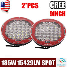 2X 185W Round 9'' Inch LED Cree Driving Spot Light Lamp ARB Replace OffRoad RED