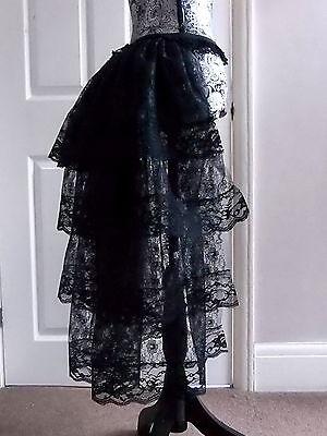 Halloween Med Black bustle skirt moulin rouge burlesque steam punk tutu lace