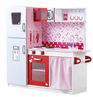 Girls Large Pink Wooden Play Kitchen - Children's Pretend Role Play Kitchen