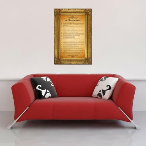 Ehegesetz Größe 40x60 cm Urkunde mit gedrucken Barockrahmen Miniposter