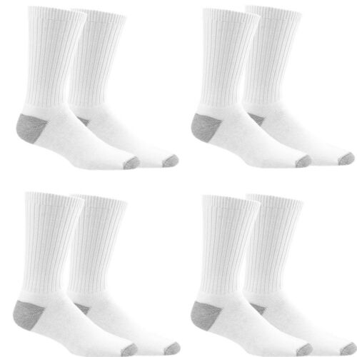 3 Pairs Mens Sports Athletic Work White 2 Tones Crew Cotton Long Socks Size 9-13