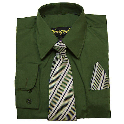 BOYS DILL GREEN DRESS SHIRT WITH MATCHING TIE LONG SLEEVE Sizes 4 to 20