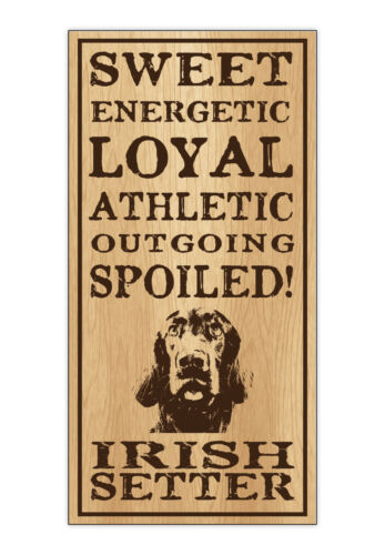 Home Wood Dog Breed Personality Sign Spoiled Irish Setter Gift Office