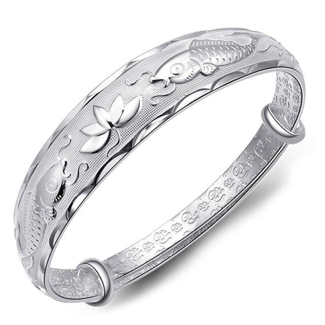 Silver New Lovely Fish and Lotus Flower Women's Adjustable Bangle Bracelet FT