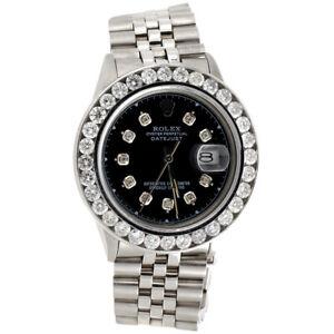 Mens-16014-Rolex-DateJust-36mm-Channel-Set-Diamond-Watch-Black-Custom-Dial-6-CT