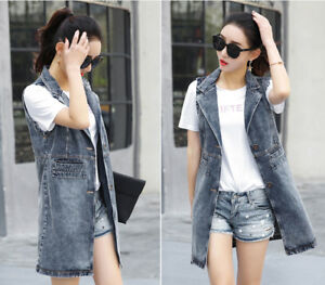 1f9eb6b2960f2 Womens Sleeveless Jean Jackets Vest Cowboy Denim Waistcoat Long Coat Casual  Tops