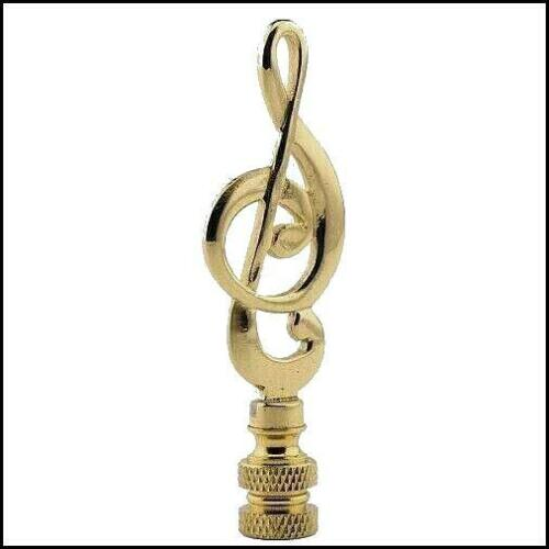 NEW POLISHED  BRASS  MUSIC  NOTE  ELECTRIC  LIGHTING  LAMP  SHADE  FINIAL