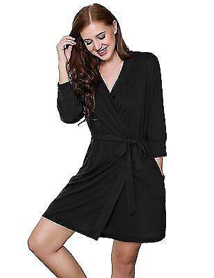 9f6a3d720c Maxmoda Women s Sleepwear 100 Cotton Terry Bathrobe Kimono Collar Robe  Black L