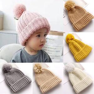 Winter Hats For Kid Knit Beanie Warm Cap Baby Hat Children Fur Pom ... ef4098610e8d