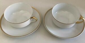 Antique-H-amp-Co-Selb-Bavaria-Set-Of-2-Tea-Cups-amp-Saucers-With-Gold-On-Rim-amp-Handle