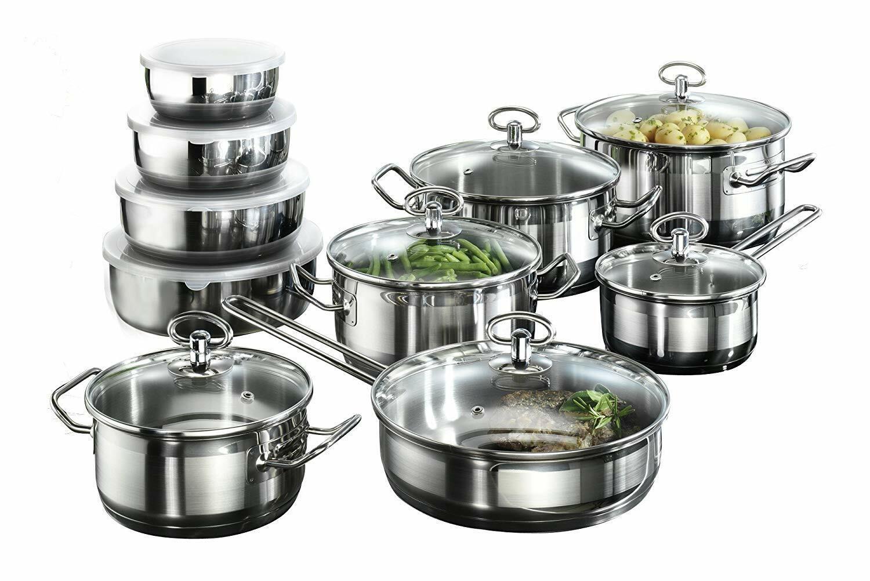 Plaque à Induction Cookware Pan Set 20 Pièce Cuisine en Acier Inoxydable Pots bols NEUF