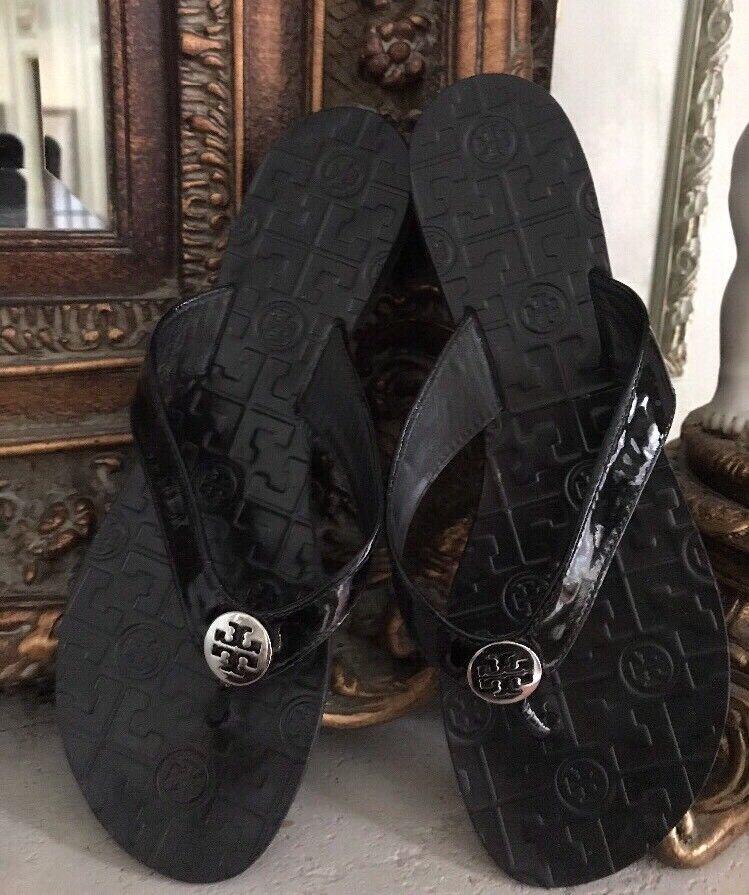 Tory Burch am onroe onroe onroe 'Charol Negro Tanga Flip Flop Sandal tamaño 10 M Usado En Excelente Estado  precio mas barato