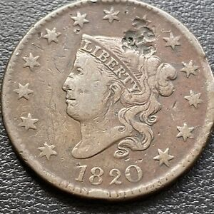 1820 Large Cent Coronet Head One Cent 1c Higher Grade VF Details #28982