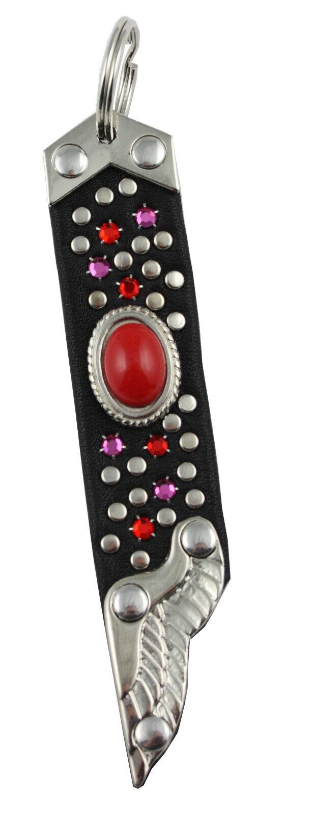Western Memory Keychain Leather Black Rhinestone Swarovski Elements SA225